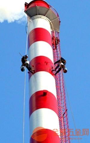 铁烟囱爬梯护网防腐、钢烟筒平台栏杆除锈刷漆维修