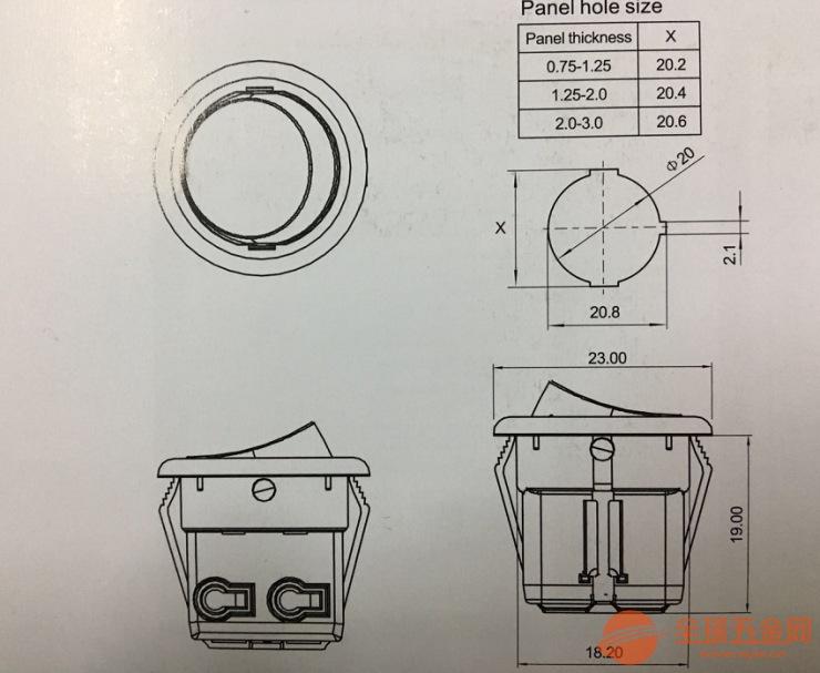 热销插线式开关厂家直销,方型13*19MM圆形20MM尺寸