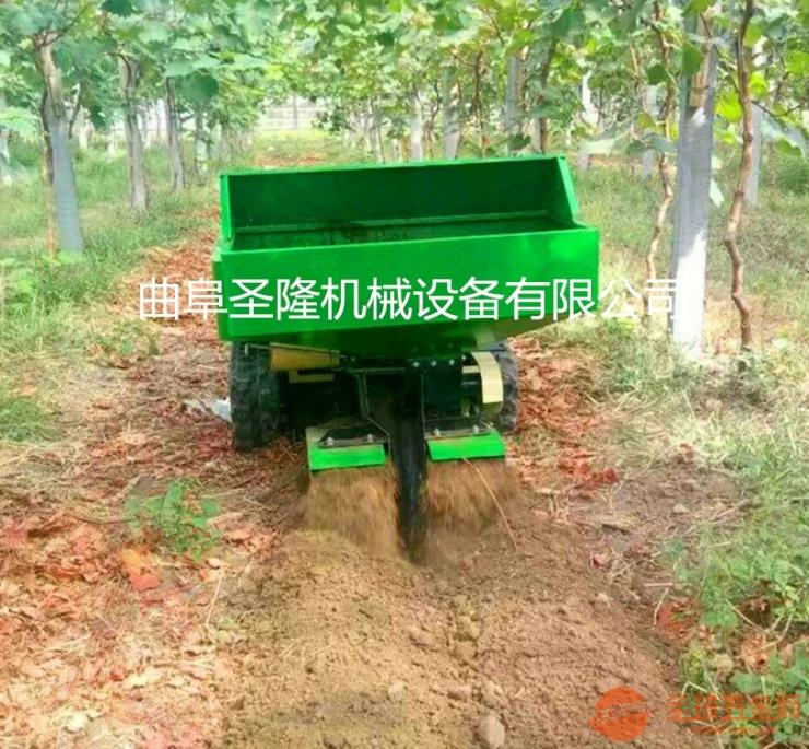 柑橘园多功能自走式开沟施肥回填一体机 果园施肥机 履带旋耕机