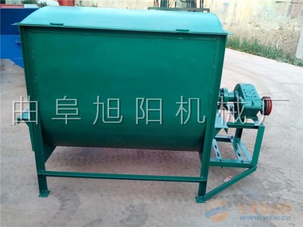 新款热销200公斤养殖场饲料搅拌机螺旋卧式粉料液体混合机