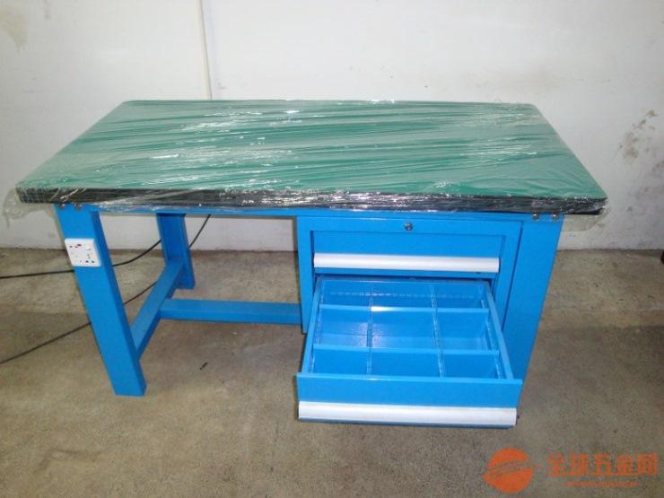 四抽屉复合板钳工工作台-台山重型钢板桌面工作台批发