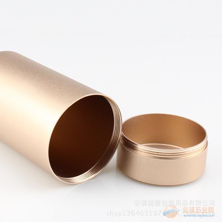 新款加厚铝罐螺纹接口食品级密封铝钛合金茶叶金属罐厂家直销