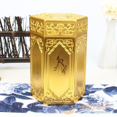 铝钛合金雕花茶叶罐 凹凸花纹仿锡茶叶铝罐六角型金属罐厂家定制