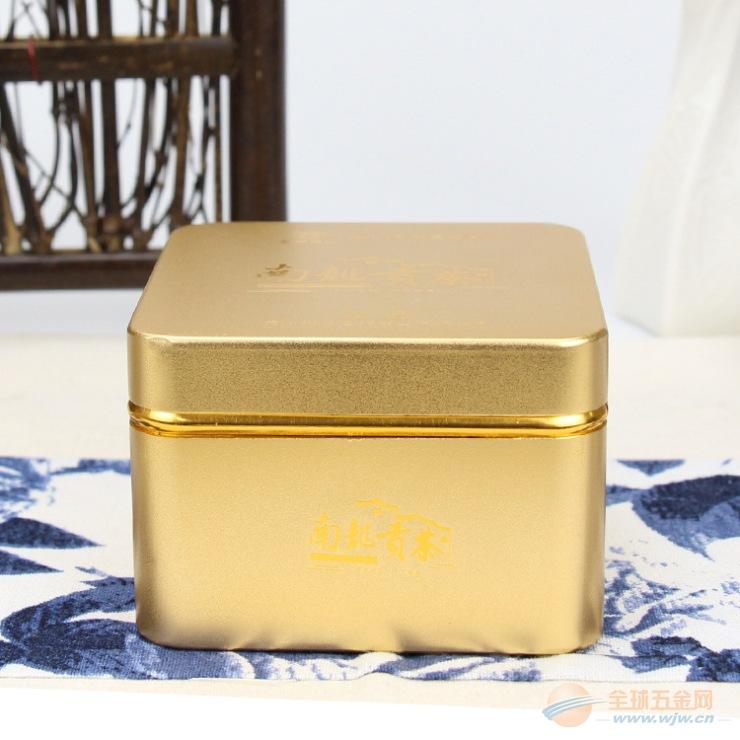 订制铝合金包装盒铝罐方形磨砂金黄色茶叶铝罐 厂家专业生产