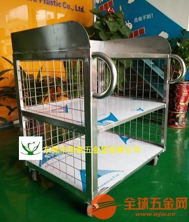 郑州不锈钢平板车,镀铬线网架,防静电手推车