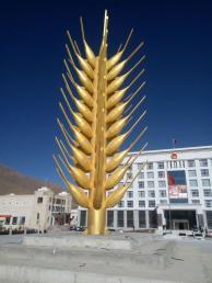 西藏日客则不锈钢麦穗雕塑