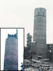 娄底30米砖烟囱拆除