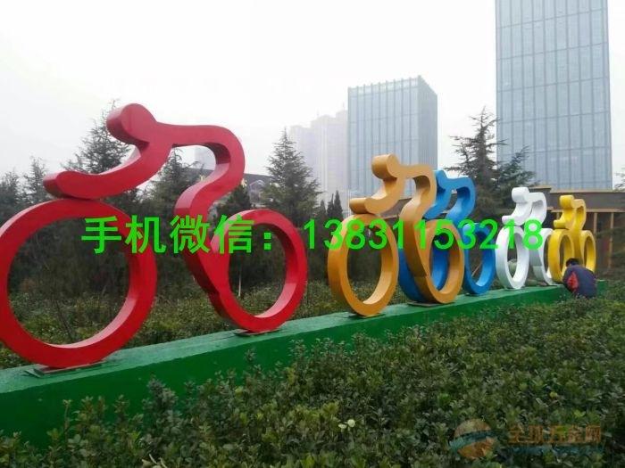 内蒙古省不锈钢抽象雕塑 人物骑车抽象雕塑