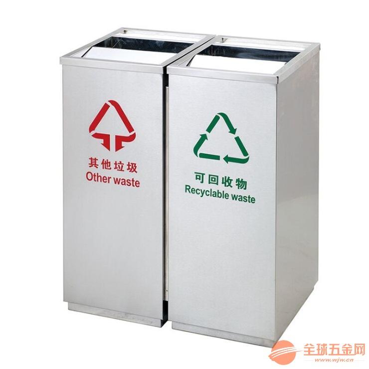 合肥室内分类环保果皮箱定做,铜陵走廊不锈钢垃圾桶批发