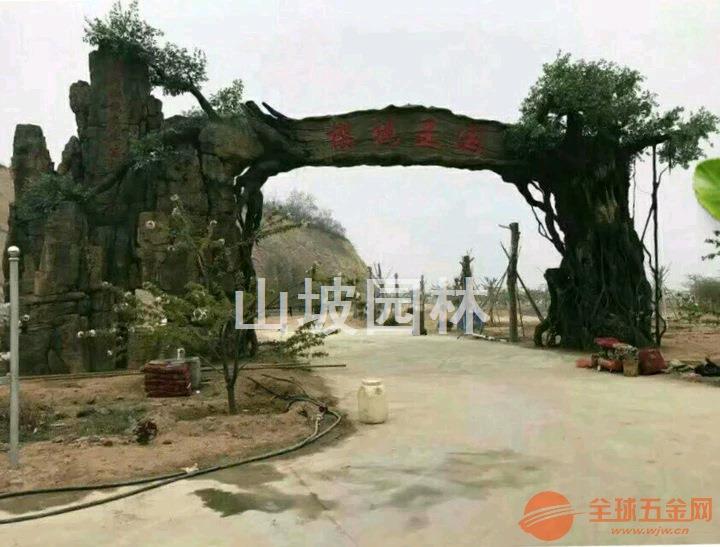 安徽亳州生态园大门安装-江苏淮阴生态园大门现场施工