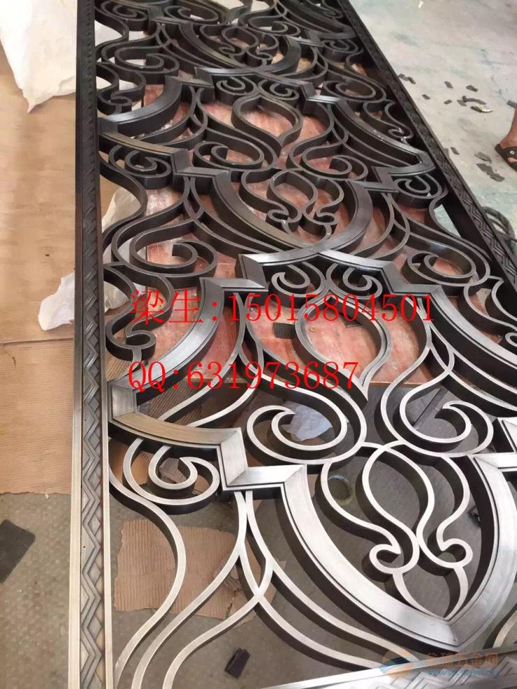 专业定做不锈钢古铜镂空雕花屏风 不锈钢激光切割花纹隔断