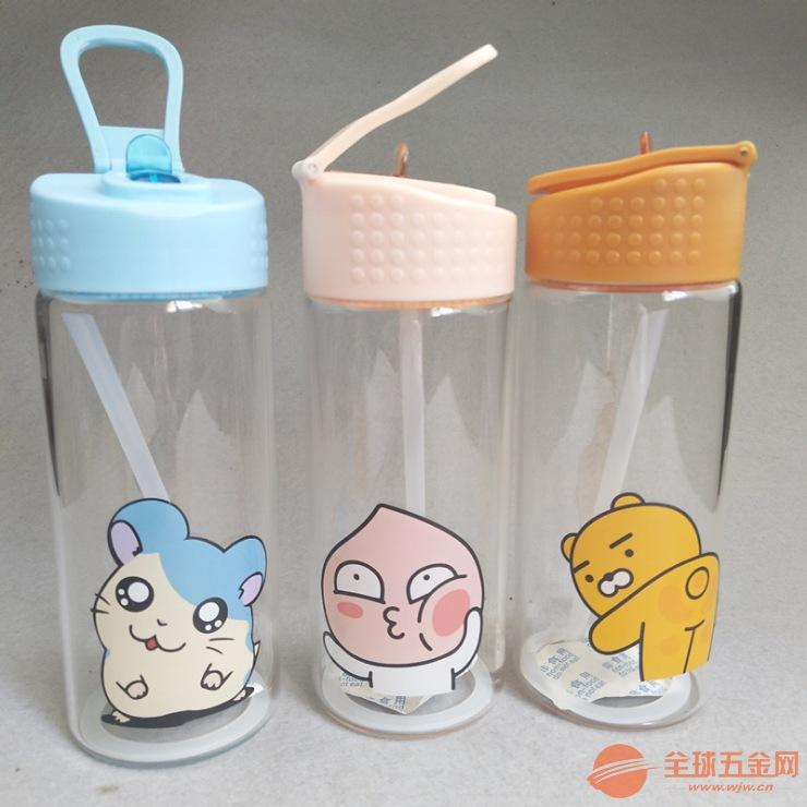 家直销卡通吸管水杯透明玻璃杯时尚便携手提水瓶屁桃君-厂家礼盒装