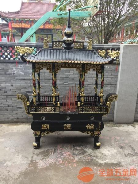 曲靖市铸造香炉厂家定制批发寺庙铜铁圆方香炉平口香炉