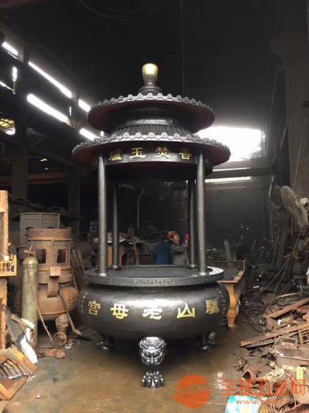 开封铸造香炉厂家定制批发寺庙铜铁香炉六龙柱香炉