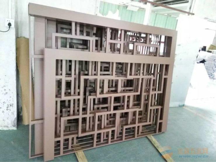 梁柱金属木纹铝窗花
