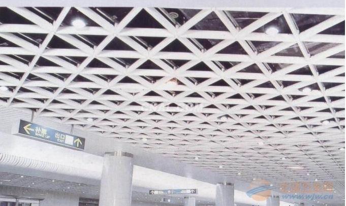 吊顶铝格栅天花商场黑白色方格子铝格棚井字型木纹网格铝合金格栅
