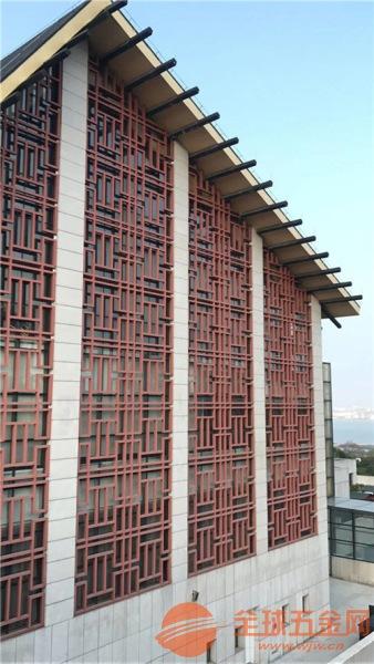 西安文化广场仿木纹铝窗花,仿木色铝花格定制厂家