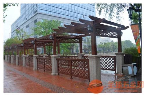 园林仿古凉亭木纹铝护栏 铝合金型材焊接铝花格窗