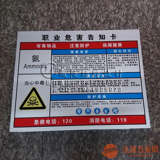危险化学品职业危害告知卡苯噪声粉尘油漆身体危害告知牌