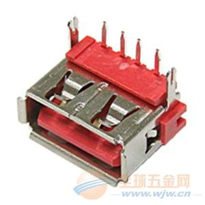 USB AF 90度DIP10.0后二脚 红色胶芯H