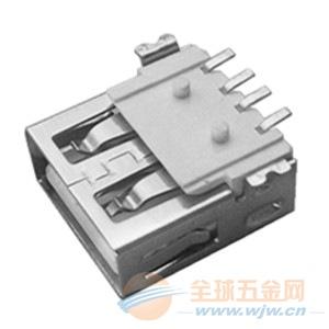 USB AF母座全贴片SMT 短鱼叉脚有柱平口