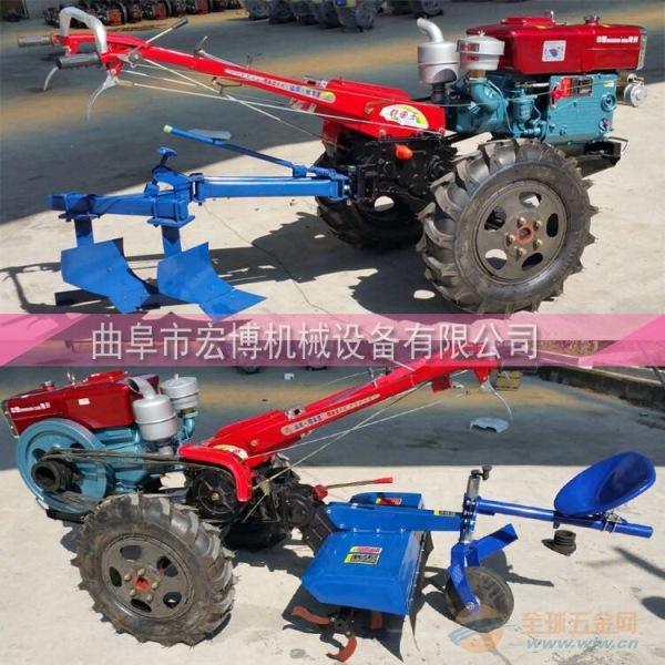 汽油除草土地耕整机 15马力电启动犁地机 柴油手扶式拖拉机