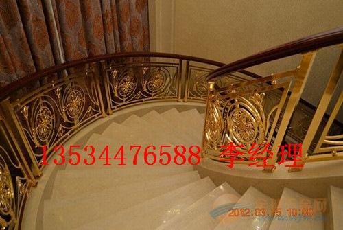 青岛青古铜雕花镂空护栏楼梯旋转弧形立柱护栏郁金香