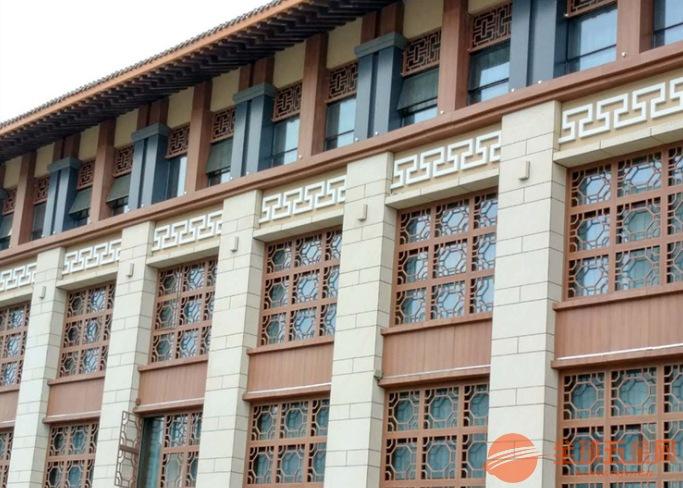 杭州酒店铝花格窗花 中式铝窗花 木纹铝窗花
