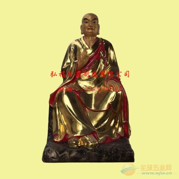 湛江寺庙座像贴金玻璃钢十八罗汉像