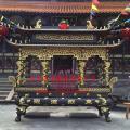 温州弘福铸造二层铜,铁八龙柱香炉