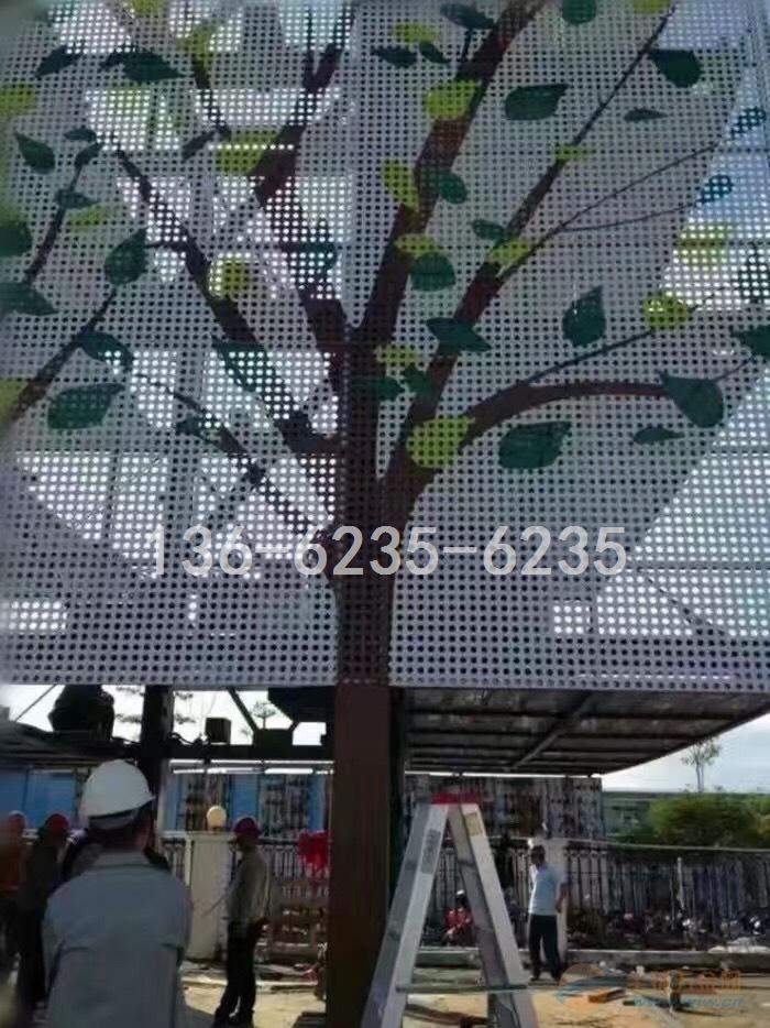 雨棚装修支柱(包柱)白色柳叶孔铝单板指定合作厂家